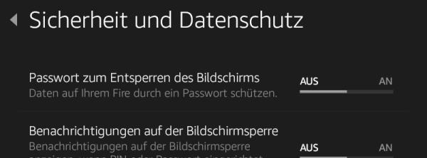 Kindle Fire 7 HD: Einstellungen / Sicherheit und Datenschutz