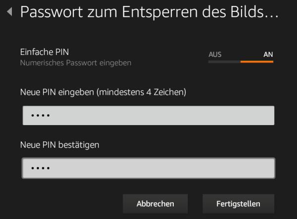 Kindle Fire 7: PIN Passwort zum Entsperren des Bildschirms