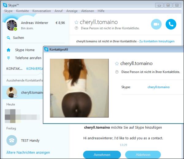 Skype-Spam: der Hintern der unbekannten Skyperin