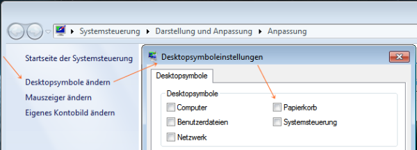 Windows 7: Papierkorb Symbol entfernen