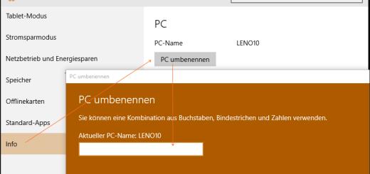 Windows 10: Computer umbenennen