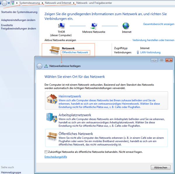 Windows 7: Netzwerk von Öffentlich auf Privat ändern