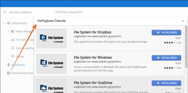 Chromebook kann Dropbox und OneDrive nutzen