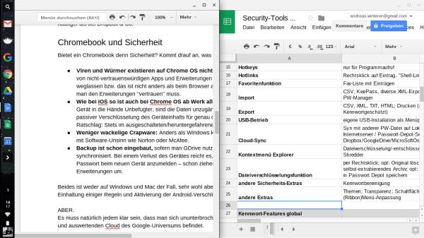 Chrome OS kann es auch: zwei Fenster nebeneinander